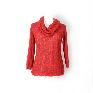 Anne Klein Red Sequined Cowl Neck Knit Sweater